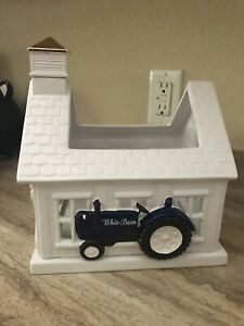 Bath & Body Works  3-Wick Candle Holder White Barn Blue Tractor Luminary NEW