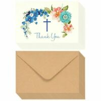"48 Christian Thank You Note Cards for Christening, Communion and Weddings, 4""x6"""