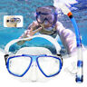 2Pcs/set Tempered Glass Snorkel Goggles Mask Breathing Tube Scuba Swimming Divin