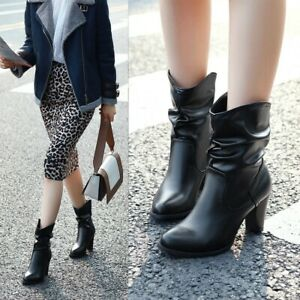 Retro Womens Slip On Pleated Casual Mid Calf Boots Round Toes High Heels Combat