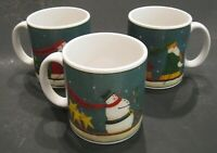 Sakura Winter Journey Christmas Fiddlestix Santa Snowmen Mugs Set of 3