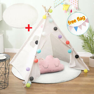 Teepee Tent for Kids with flags & Floor Mat Decor Children Play Tents Playhouse