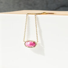 Kendra Scott Elisa Gold Necklace in magenta PInk Stone New