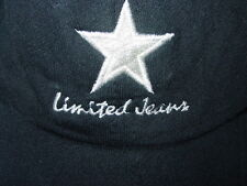 Vtg Limited Jeans Knit Black Baseball Hat Silver Star Cap Adjustable One Size