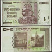 ZIMBABWE 200 Million Dollars (200,000,000), 2008, P-81, UNC World Currency,