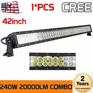 """240W 42""""in LED WORK LIGHT BAR Combo for JEEP 4WD TRACTOR OFFROAD BOAT SUV 40""""44"""""""
