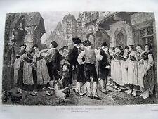 1m42 Gravure eau forte de Marchal, la foire aux servantes à Bouxwiller (Alsace)