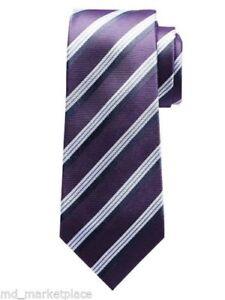 """NEW Banana Republic Classic Mens 100% Silk 3"""" Wide Tie Purple White Striped NWT"""