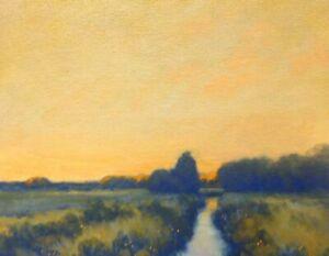 Twilight Creek Wetlands Farm Impressionism Art Oil Painting Landscape Christmas