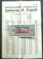 Biglietto L.12  lotteria di Tripoli 1941 +Manifestino estrazioni (rarità) L.0,50