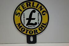 """STERLING MOTOR OIL  4 5/8"""" High by 3 3/4"""" Wide automobile plate topper"""