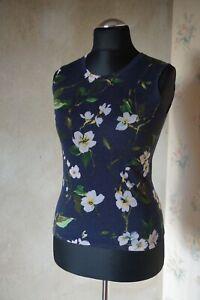 Women RPR£549 ESCADA jumper XS 6 8 top 100%virgin wool knitted sleeveless floral