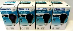 4 Philips 75 Watt A19 Party Incandescent Blacklight Light Bulbs Black Light NEW