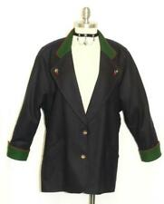 """BLUE BOILED WOOL JACKET Women German Loden Hunting SPORT Dress Coat 16 L B46"""""""