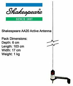 Shakespeare AA20 0.9m V-Tronix Active Antenna with 20m Cable + BNC Connector