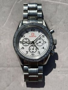 OMEGA Speedmaster Chronograph Men's White Face Watch Used Condition