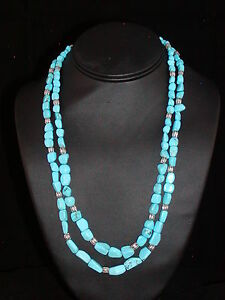 Double Strand Sleep Beauty Turquoise and Sterling Silver Necklace