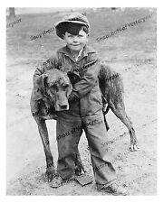 1910s era vintage photo-Proud little boy with his large dog-overalls-8x10 in