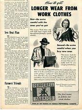 1945 Pepperell Fabrics Work Clothes Print Ad