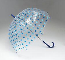 SET OF 6 x Wedding Umbrellas - Dome See Thru Clear Blue Polka Dot High Quality