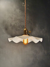 Subway Breeze Pendant Lamp - Vintage Industrial Hanging Light with Ruffle Shade