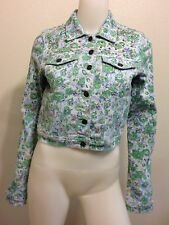 NEW BUFFALO FLORAL FLOWER GOLD SPIKE STUD JEAN JACKET RETRO VINTAGE SMALL