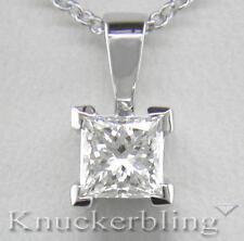 0.30ct Diamond Solitaire Pendant Certified D IF VG Princess Cut Platinum + Chain