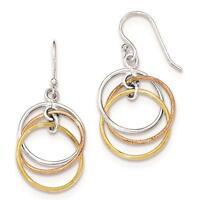 Sterling Silver 14K Gold & Rose Gold Vermeil Circles Dangle Earrings 16mm x 35mm