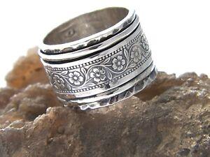 Hand Made Hammered Flower Design 925 Sterling Silver Spinner Ring-Custom Size