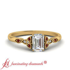 Celtic Knot Engagement Ring With 0.75 Carat Emerald Cut Diamond & Ruby Gemstone