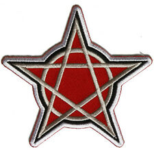 Embroidered Pentagram Iron on Sew on Biker Patch Badge