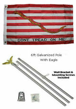 2x3 2'x3' First Navy Jack Gadsden Flag Galvanized Pole Kit Eagle Top