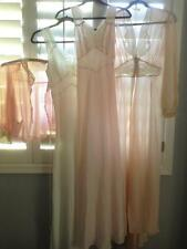 Lot Vtg 1940's Wonder Maid St. Louis Nightgowns Robe Pink Ivory Silk Lingerie
