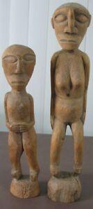 2 Antique Tau Tau Indonesian Sulawesi Toraja Carved Wood Ancestor Effigy Statues