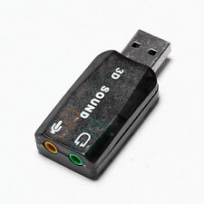 USB 2.0 3D Soundkarte Sound card Audio 5.1 Kanal Konverter Adapter Schwarz