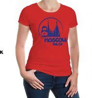 Damen Kurzarm Girlie T-Shirt Moscow Rules Silhouette Moskau Russland City Stadt