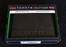 TOMMY HILFIGER Men's Black Men's RFID Pebbled Leather Wallet (New in box)