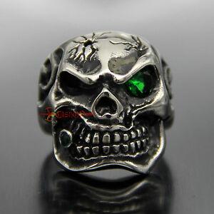Men Silver Stainless Steel Skull Emerald Green CZ Eye Cigar Biker Ring Rock Punk