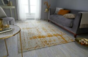 MANHATTAN CARTER YELLOW OCHRE CHENILLE STYLE ABSTRACT RUG  in various sizes