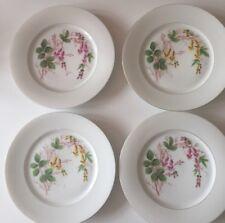 4 x Antique Edwardian Art Nouveau hand painted porcelain floral design plates