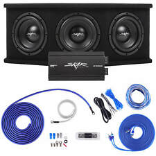 "SKAR AUDIO TRIPLE 8"" 2100W SDR COMPLETE BASS PKG LOADED SUB BOX - AMP - WIRE KIT"