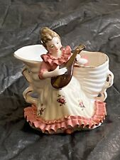 Porcelain Figurines Collectible Woman Playing Mandolin, Conk Shell Sugar Bowl