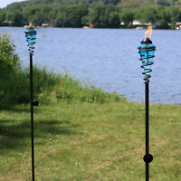 Sunnydaze 2-in-1 Metal Swirl with Blue Glass Outdoor Lawn Torch - Set of 2