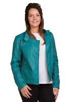 Ladies Biker Jacket Leather Look Zipper collared light weight outdoor S to XL