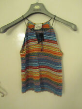 Lipsy Tie Neck Multicoloured Thin Knit Sleeveless Top in Size 6