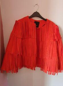RIVER ISLAND Size 10 Orange Soft Faux Suede Fringed Open Coat Jacket, VGC.
