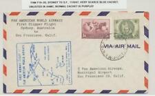 AUSTRALIA 1947 SYDNEY TO SAN FRANCISCO 1st FLIGHT RARE BLUE CACHET, FAM F19-35