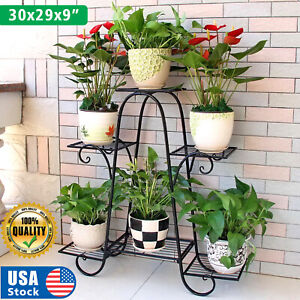 USA 6Tiers Metal Plant Stand Flower Pot Display Holder Shelf Home Garden Balcony