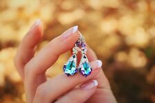 Crystal Dangle Vintage Vitrail Light Earrings with Crystals from Swarovski