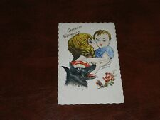 ORIGINAL XAVIER SAGER SIGNED ART NOUVEAU GLAMOUR POSTCARD - WOMAN, CHILD & DOG.